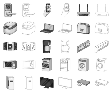 Smart home appliances monochrome,outline icons in set collection for design. Modern household appliances vector symbol stock illustration.