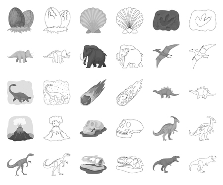 Different dinosaurs monochrome,outline icons in set collection for design. Prehistoric animal vector symbol stock web illustration. Ilustração