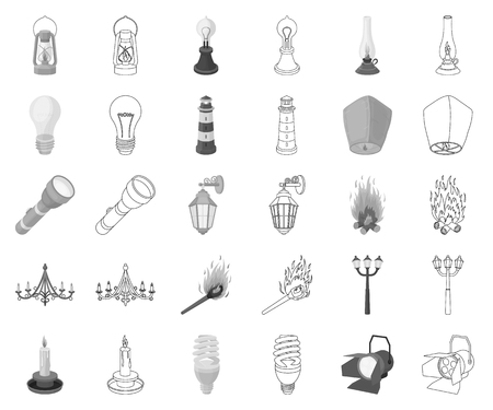 Light source monochrome,outline icons in set collection for design. Light and equipment vector symbol stock web illustration.
