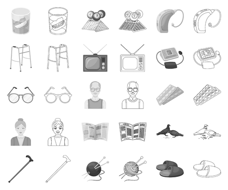 Human old age monochrome,outline icons in set collection for design. Pensioner, period of life vector symbol stock web illustration.