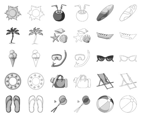 Summer rest monochrome,outline icons in set collection for design. Beach accessory vector symbol stock web illustration.