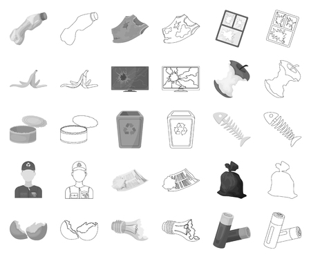 Garbage and waste monochrome,outline icons in set collection for design. Cleaning garbage vector symbol stock web illustration.