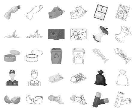 Ordures et déchets monochromes,icônes de contour dans la collection de jeu pour la conception. Illustration de stock de symbole de vecteur d'ordures de nettoyage. Vecteurs