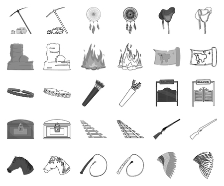 Attributes of the wild west monochrome,outline icons in set collection for design.Texas and America vector symbol stock web illustration. Illustration