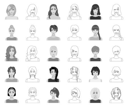 Types of female hairstyles monochrome,outline icons in set collection for design. Appearance of a woman vector symbol stock web illustration.