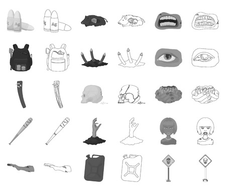 Zombies and Attributes monochrome,outline icons in set collection for design. Dead man vector symbol stock web illustration.