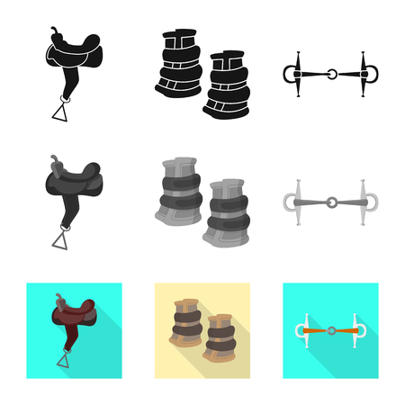Isolated object of equipment and riding sign. Set of equipment and competition stock vector illustration.