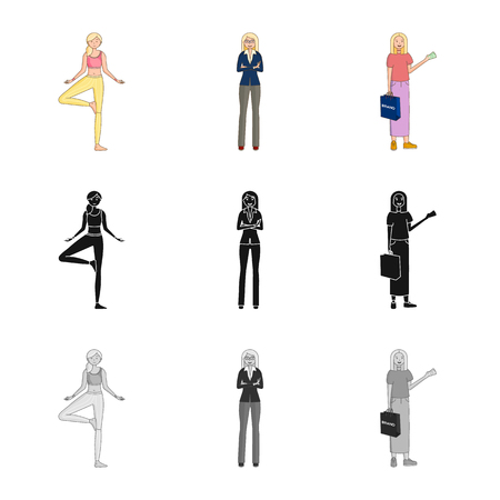 Isolated object of posture and mood symbol. Set of posture and female vector icon for stock. Ilustrace
