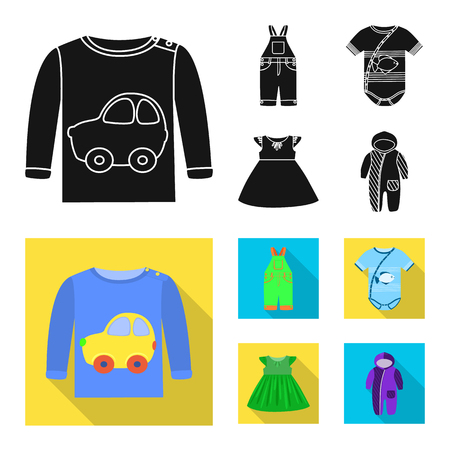 Diseño vectorial de signo de moda y prendas de vestir. Conjunto de icono de vector de moda y algodón para stock. Ilustración de vector
