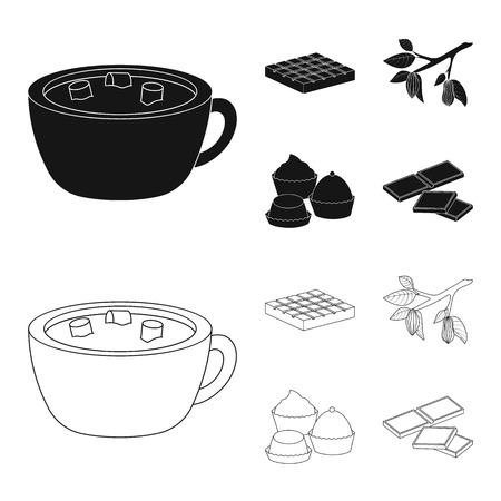 Vector illustration of food and yummy icon. Set of food and brown   stock symbol for web.