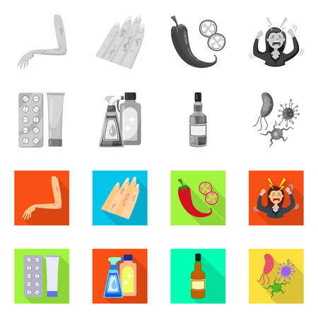 Vector design of medical and pain  sign. Collection of medical and disease vector icon for stock. Vettoriali
