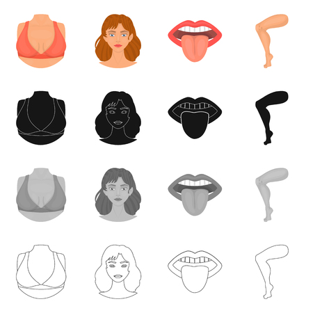 Vector illustration of body and part logo. Set of body and anatomy vector icon for stock. Иллюстрация