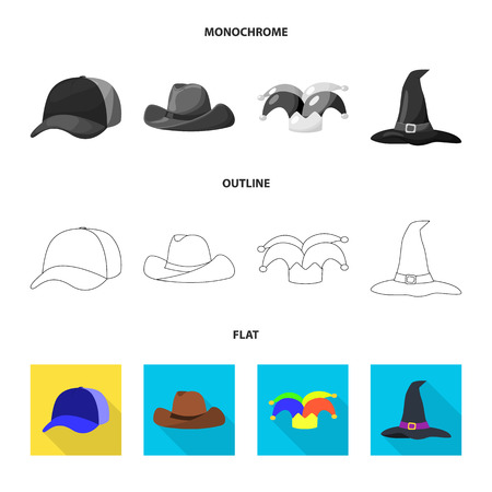 Vector design of clothing and cap logo. Collection of clothing and beret vector icon for stock.