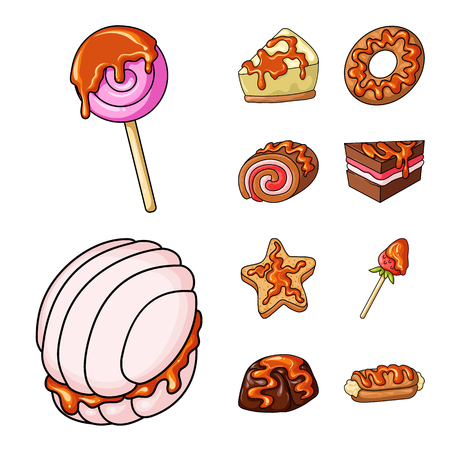 Isolated object of dessert and sweet sign. Set of dessert and food stock vector illustration.