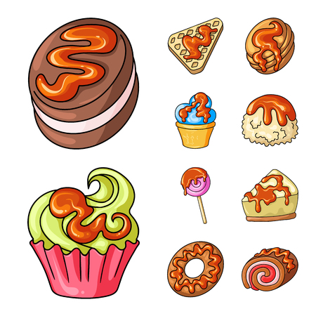 Vector design of dessert and sweet logo. Collection of dessert and food stock vector illustration. Logo