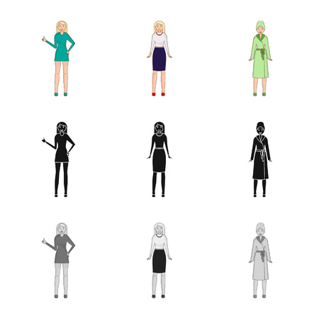 Vector design of posture and mood icon. Collection of posture and female stock symbol for web. Stok Fotoğraf - 124711275