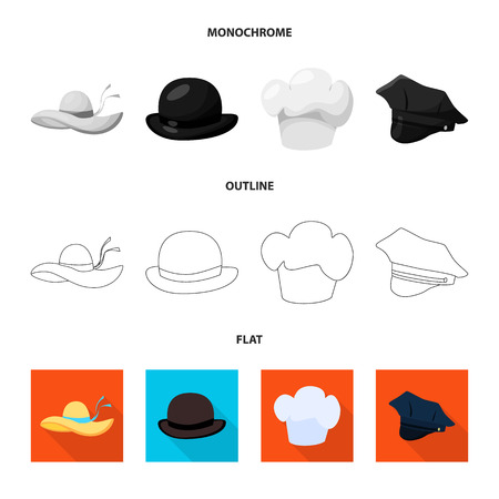 Isolated object of clothing and cap symbol. Set of clothing and beret vector icon for stock. Vektoros illusztráció
