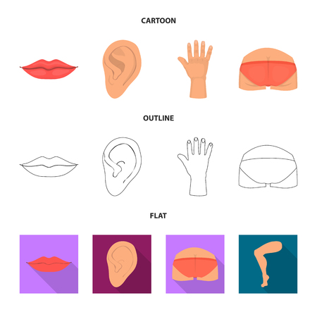 Vector design of body and part icon. Set of body and anatomy stock vector illustration. Иллюстрация