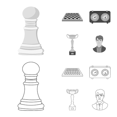 Vector illustration of checkmate and thin logo. Set of checkmate and target stock vector illustration. Ilustração