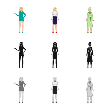 Vector design of posture and mood icon. Collection of posture and female stock symbol for web.
