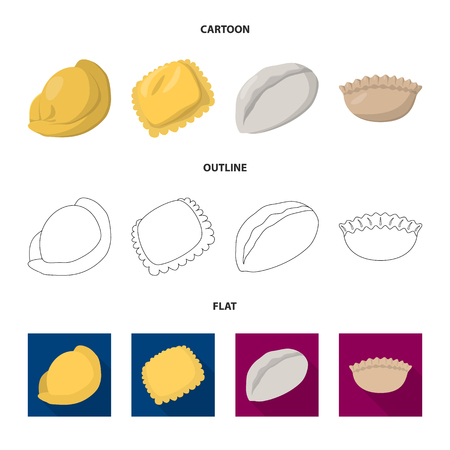 Vector illustration of products and cooking icon. Set of products and appetizer stock symbol for web.