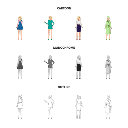 Vector illustration of posture and mood sign. Set of posture and female stock symbol for web.