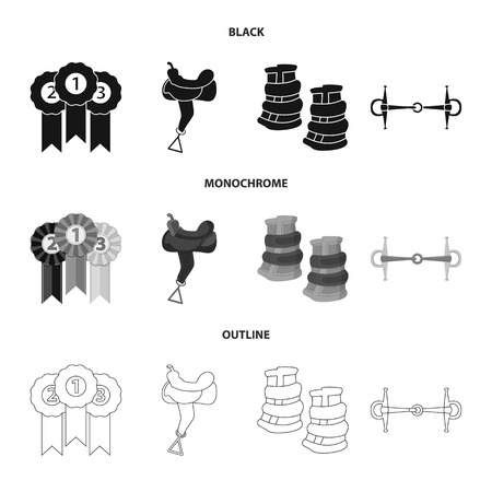 Vector design of equipment and riding sign. Set of equipment and competition vector icon for stock.