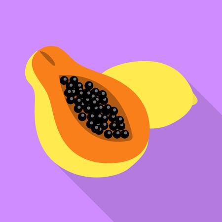 Isolated object of papaya and fruit symbol. Set of papaya and slice vector icon for stock. Ilustração