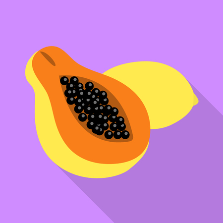 Isolated object of papaya and fruit symbol. Set of papaya and slice vector icon for stock. Illustration