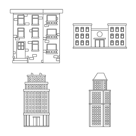 Isolated object of architecture and exterior sign. Collection of architecture and city stock vector illustration.