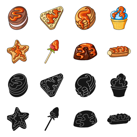Vector design of confectionery and culinary sign. Collection of confectionery and product stock vector illustration.  イラスト・ベクター素材