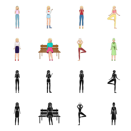 Isolated object of posture and mood symbol. Collection of posture and female stock symbol for web.