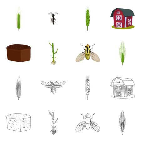Vector illustration of agriculture and farming logo. Set of agriculture and plant vector icon for stock.