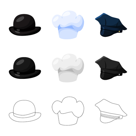 Vector illustration of clothing and cap sign. Set of clothing and beret stock symbol for web. Ilustración de vector
