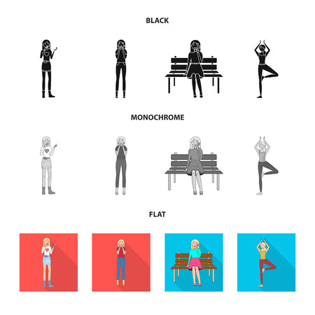 Isolated object of posture and mood logo. Collection of posture and female stock symbol for web. Standard-Bild - 124685015