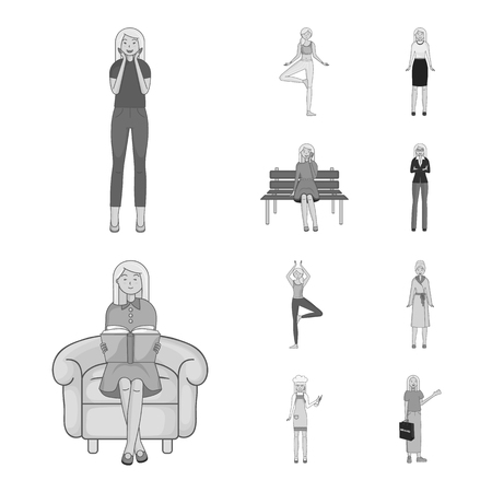 Isolated object of emotions and female icon. Set of emotions and body stock vector illustration. Stok Fotoğraf - 124685020