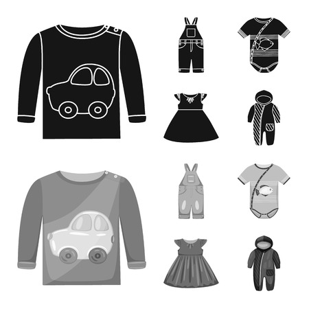 Vector illustration of fashion and garment icon. Set of fashion and cotton vector icon for stock.