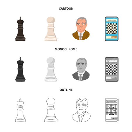 Vector illustration of checkmate and thin icon. Set of checkmate and target vector icon for stock.