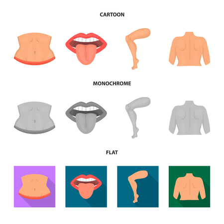 Vector illustration of body and part symbol. Collection of body and anatomy vector icon for stock.