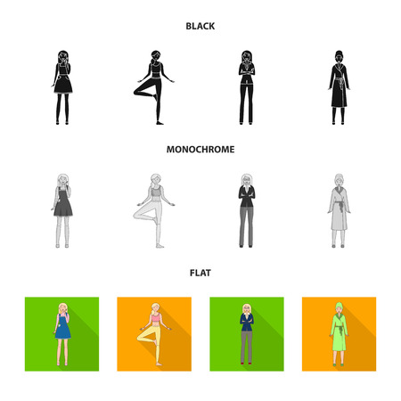 Vector illustration of posture and mood icon. Collection of posture and female stock symbol for web.