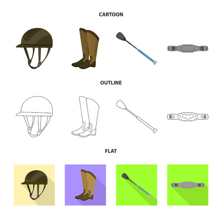 Vector illustration of equipment and riding symbol. Collection of equipment and competition stock symbol for web.