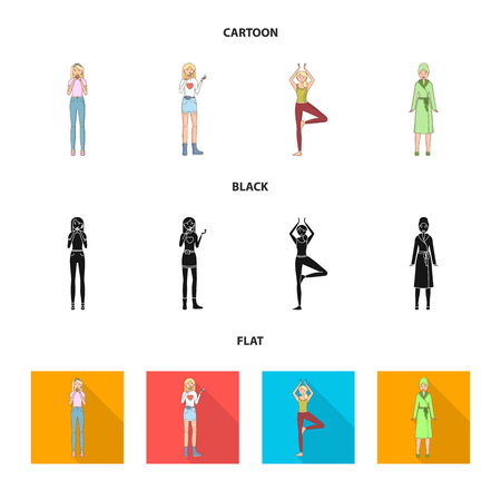 Vector design of posture and mood sign. Collection of posture and female vector icon for stock.
