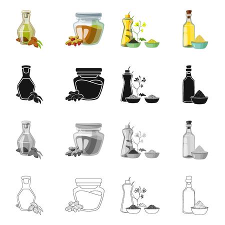 Geïsoleerd object van gezond en plantaardig symbool. Set van gezonde en landbouw voorraad vectorillustratie.