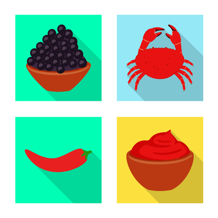 Isolated object of taste and product symbol. Collection of taste and cooking stock vector illustration.