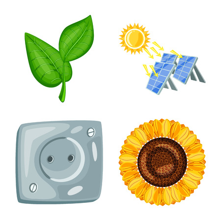 Vector illustration of  and organic  symbol. Set of  and Solar vector icon for stock.  イラスト・ベクター素材