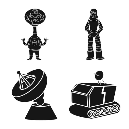 Isolated object of colonization and sky logo. Collection of colonization and galaxy vector icon for stock.