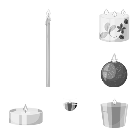 Vector illustration of paraffin and fire  sign. Collection of paraffin and decoration    vector icon for stock.