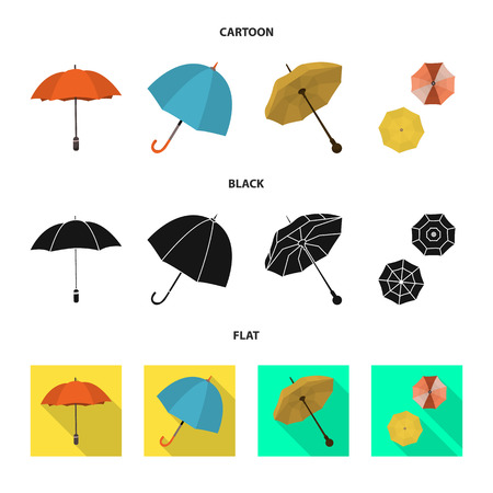 Vector illustration of protection and closed symbol. Collection of protection and rainy stock symbol for web.