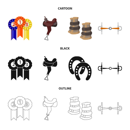 Vector design of equipment and riding sign. Collection of equipment and competition vector icon for stock.
