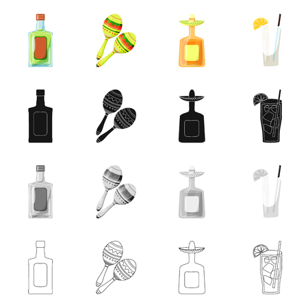Isolated object of cafe and Latin sign. Collection of cafe and national vector icon for stock.
